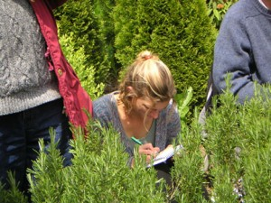 Studying in medicinal garden